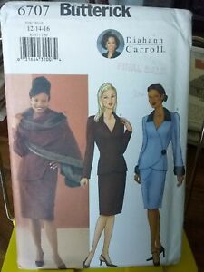 Oop-Butterick-Diahann-Carroll-6707-misses-chic-suit-stole-sz-12-16-NEW