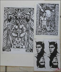 erotique-gay-Paul-le-Chien-3-lithographies-signees