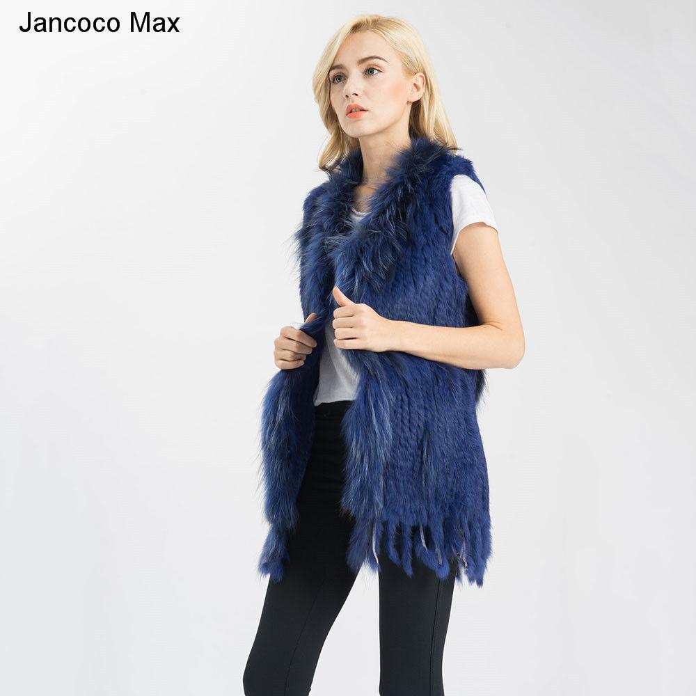 Women Real Natural Rabbit Fur Gilet Raccoon Fur Trimming Vest Winter Coat 71015