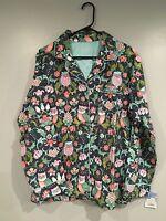 Nick & Nora- Target, Fleece Owl Pattern Pajama Shirt, Pink, Green, Teal - L