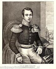 Antique print Willem I der Nederlanden portrait William portret erfprins oranje