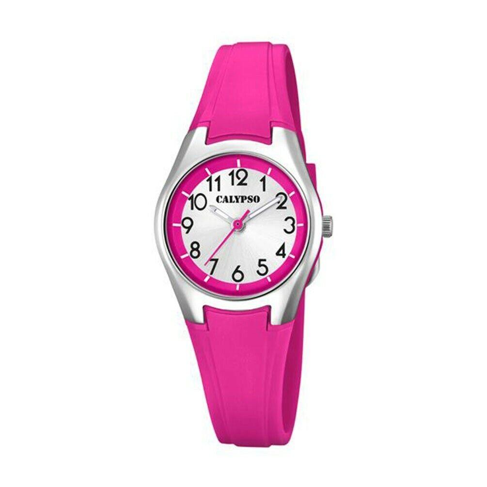 Reloj Calypso para niña en caucho color rosa K5750/2 Esfera plateada