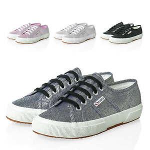 NUOVO-Superga-Donna-Scarpe-Sportive-Sneaker-low-top-canvas-GLITTER-LACCI-Sale