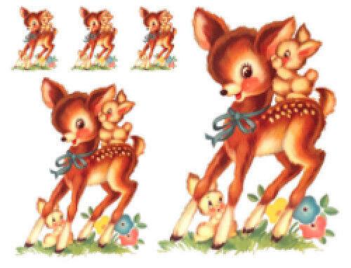 Vintage Image Shabby Nursery Retro Deer and Bunnies Waterslide Decals AN810