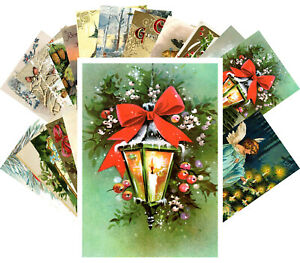 Postcards-Pack-24-cards-Vintage-Christmas-Greeting-Card-Wishes-Scenary-CH4003