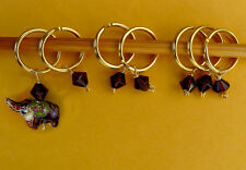 Stitch marker, knitting 6+1,  crystal and Cloisonne beads -- elephant, wine