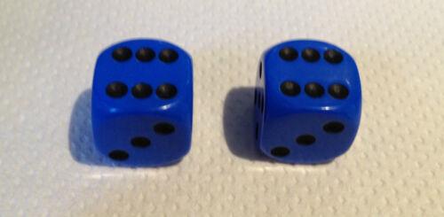2 Blue Black Pips Spots Dice Dust Valve Caps Retro 80/'s Hotrod VW