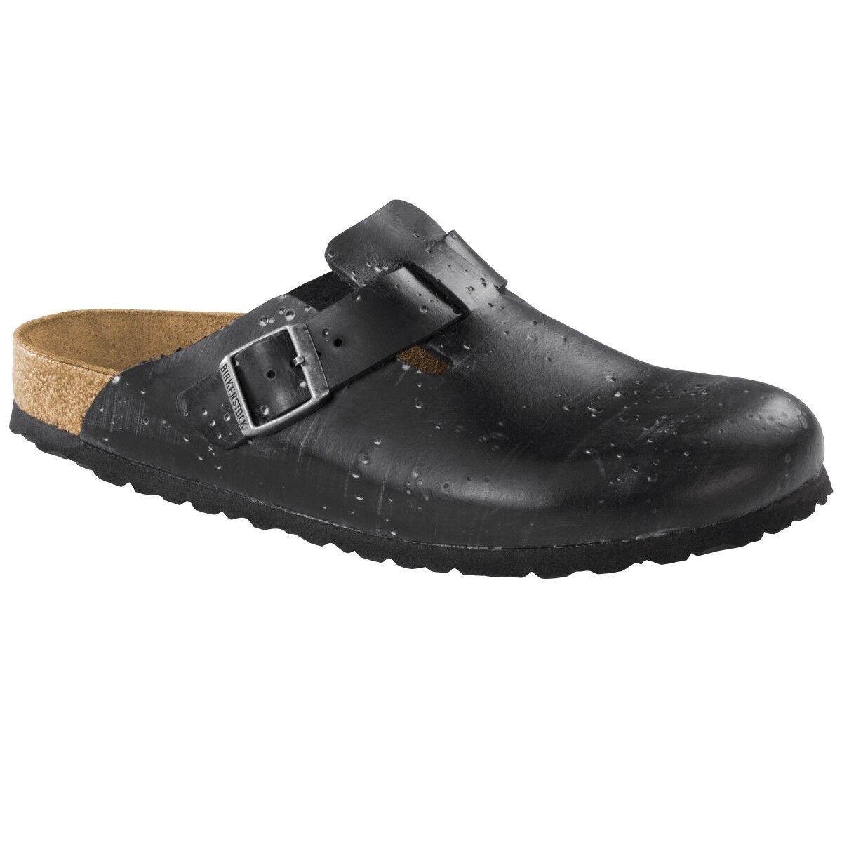Birkenstock Boston Leder Clogs Schuhe Pantolette 1007375 Clog black Weite schmal 1007375 Pantolette 94192e