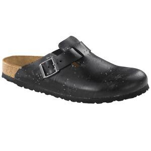 Birkenstock Boston Leder Clogs Schuhe Pantolette Clog black Weite schmal 1007375
