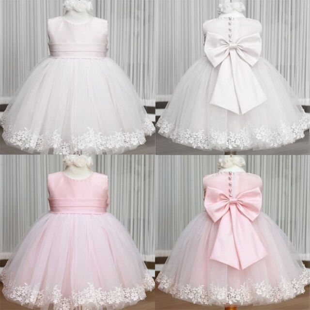 Wedding Evening Party Flower Bow Girls Kids Princess Gown Fancy Dresses 2-7Y