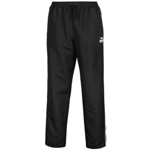 Mens Lonsdale 2 Stripe Open Hem Woven Pants Tracksuit Bottoms Lightweight New