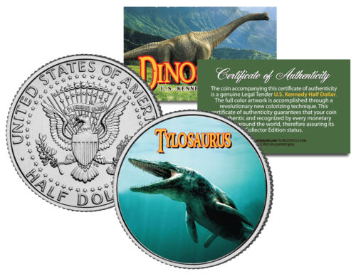 TYLOSAURUS *Collectible Dinosaur* JFK Half Dollar Colorized Coin MOSASAUR Lizard