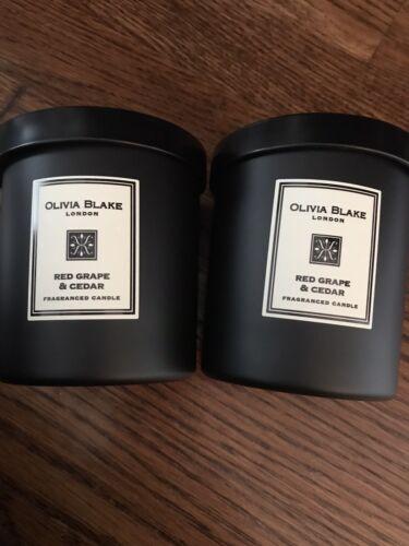2 Olivia Blake London Red Grape /& Cedar Candles