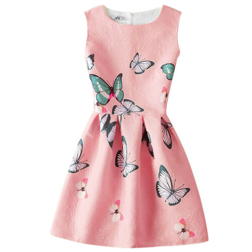 New Cute Sleeveless Printed A-Line Girls Dress Womens Summer Party Kids Clothes