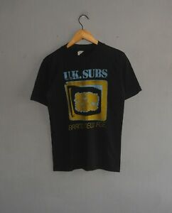 Vintage 1980 UK SUBS Tour T shirt size S-M / Mega Rare 80s punk hardcore T shirt