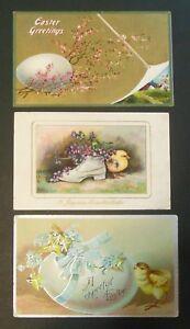 Lot-of-3-Antique-Vintage-Artist-Easter-Postcards-Baby-Chicks-amp-Eggs-2-Winsch