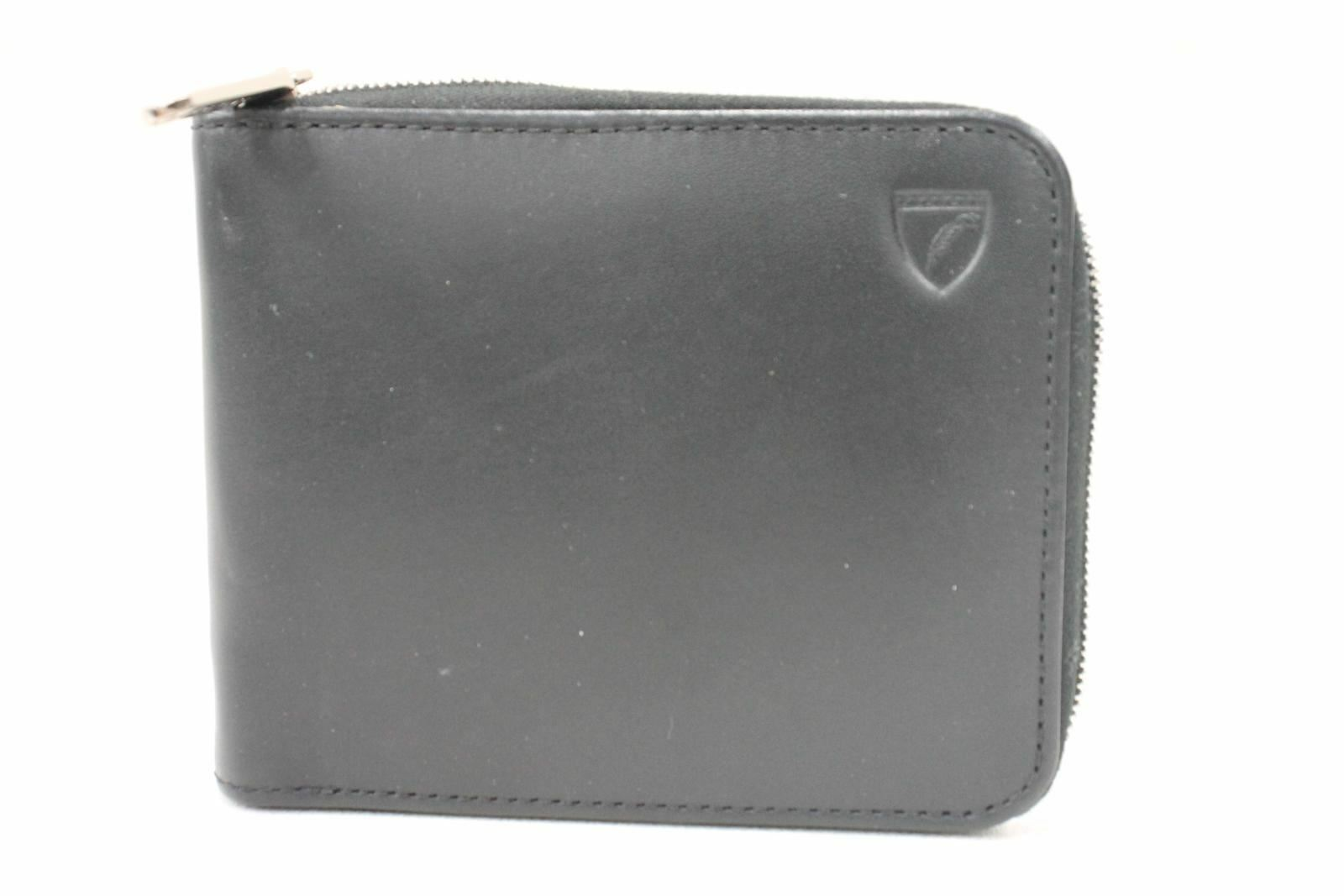 ASPINAL OF LONDON Smooth Dark Black Leather Zip Men's Bifold Coin Wallet NEW