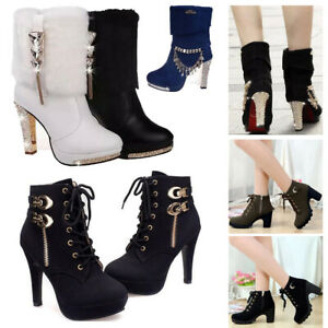 Winter-Women-039-s-Buckle-Ankle-Boots-Chunky-High-Heels-Lace-Up-Martin-Boot-Zipper