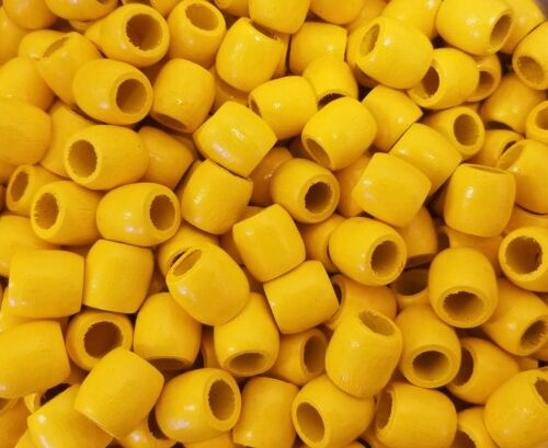 "Lot of 100 Yellow Macrame 16mm 5//8/"" Barrel Wood Art Craft Beads with Large Hole"