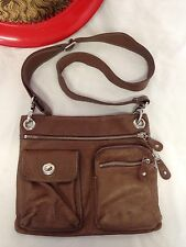 Roots Canada Genuine Leather Flat Brown Crossbody Messenger Bag