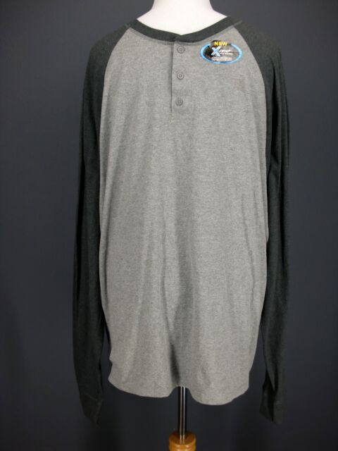 f3917df66bf4 HANES T Shirt 3XL Mens Gray X-Temp Baseball Raglan Long Sleeve NEW NWT