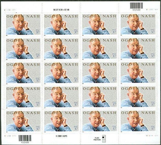 2002 37c Ogden Nash, Humorist, Sheet of 20 Scott 3659 M