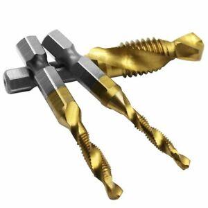 6pcs//Set M3-M10 Hex Shank Titanium Plated HSS Screw Thread Metric Tap Drill Bits