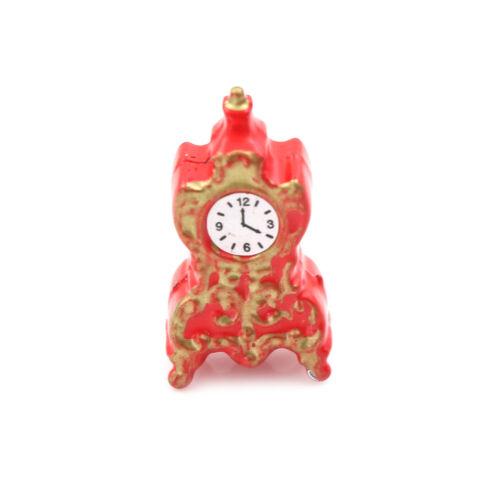 Puppenhaus Miniatur Spielzeug 1:12 Wohnzimmer Porzellan Uhr H 2,7 cm ZP