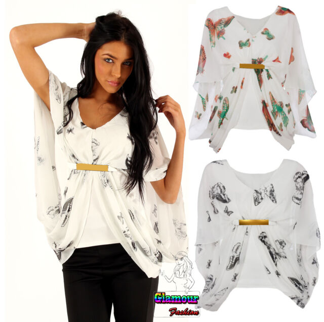 New Womens Chiffon Butterfly Print Gold Buckle Ladies Batwing Gypsy Tee Top
