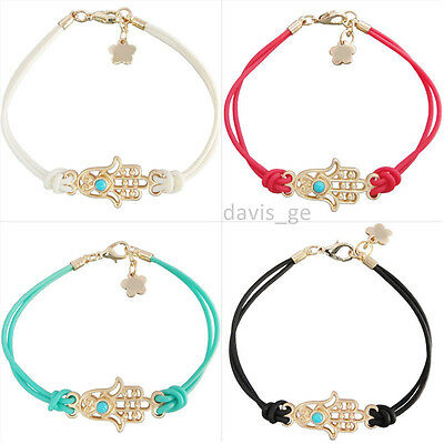 "Fashion Jewelry Gold Tone Charm Hamsa Hand Rope Bracelet 6.7""+0.8"" VFV"