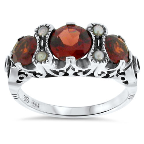 GENUINE GARNET PEARL ANTIQUE VICTORIAN STYLE 925 STERLING SILVER RING SIZE 9,#86