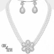 CLEARANCE WHITE PEARL CRYSTAL BRIDE WEDDING FORMAL NECKLACE JEWELRY SET CHIC