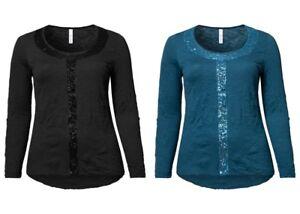 Top Marken populärer Stil reduzierter Preis Details zu Sheego Damen Crinkle Shirt Top Oberteil Bluse Tunika Black  Petrol Schwarz NEU