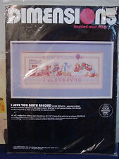 Dimensions - I Love You Birth Record Cross Stitch Kit