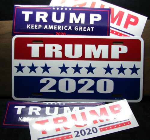 PRESIDENT TRUMP METAL LICENSE PLATE  DONALD TRUMP 2020 /& 4 PC BUMPER STICKER SET