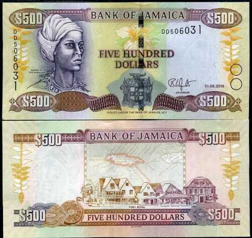 JAMAICA 500 DOLLARS 2018 P 85 NEW DE LA RUE TDLR UNC
