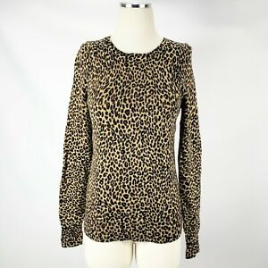 LOFT-Ann-Taylor-XS-Leopard-Print-Sweater-Animal-Cheetah-Brown-Black-Fit-Slim