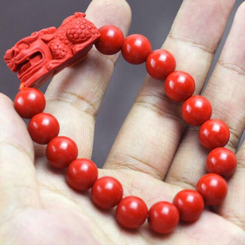 10 mm NATURAL cinabre Pixiu Dragon Bracelet lucky amulet bracelet Bijoux Set
