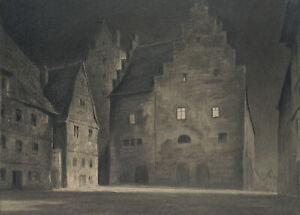 Carl WALTHER (1880-1956), Nächtliche Straßenszene, Kohle über Bleistift