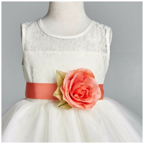 NEW Ivory Lace Rose Petal Tulle Dress Flower Girl Size S M L XL 2 4 6 8 10 #025