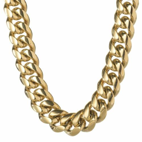 Mens Miami Cuban Link Chain Bracelet 14K Gold Plated Stainless Steel 8mm-18mm