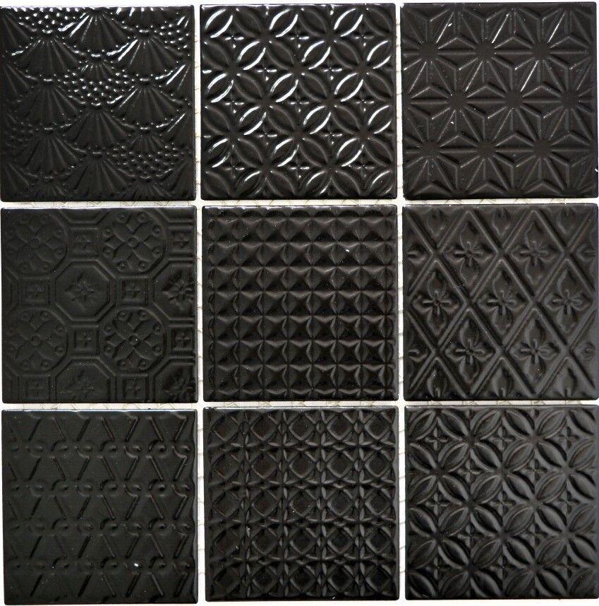 Küchenfliese schwarz Badezimmer Fliese Wand Retro Struktur 22B-1403_f 10Matten