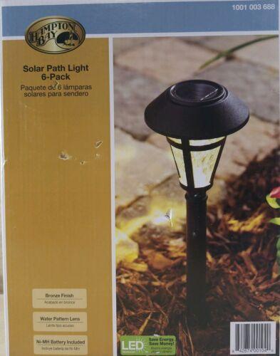 Hampton Bay Solar LED Pathway Lights 6-pack Bronze Finish 4in X 12in