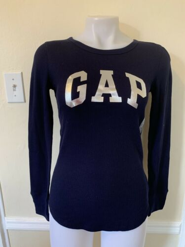 GAP Thermal Metallic Arch Logo Long Sleeve Tee T Shirt Women/'s Top Navy $25 NWT