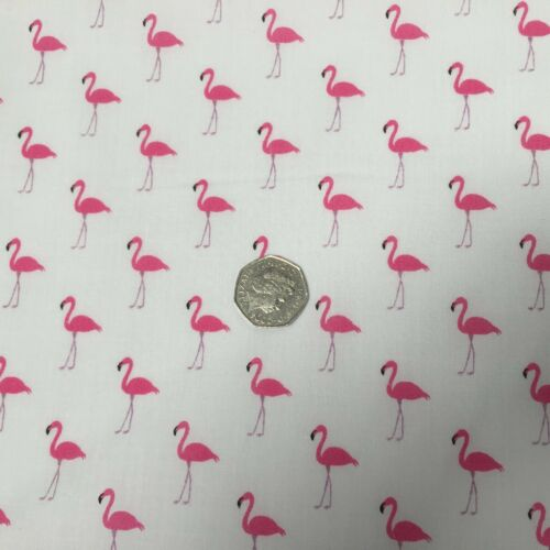 """PolyCotton Fabric Beautiful Standing Pink Flamingos White /& silver 45/"""" Wide"""