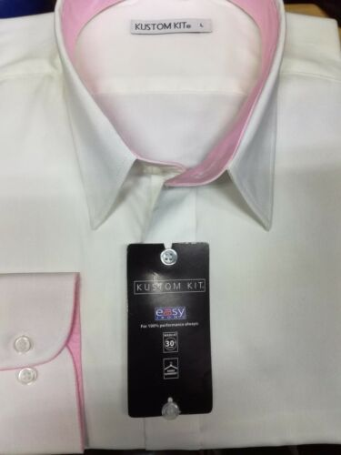 Mens Kustom Kit Shirt Contrast Premium Oxford White Pink Corporate Shirt SALE