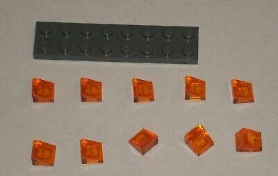 LEGO NEW 1x1x0.66 Transparent Red Slope 31° 4244363 Brick 50746 10x