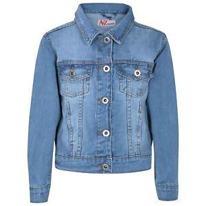 newest 2f3c2 d554b Dettagli su Bambine Azzurro Giubbotto di Jeans Jeans Design Giacca Elegante  Moda Cappotti