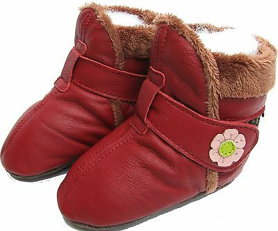 carozoo booties dark red 6-12m soft sole leather baby shoes
