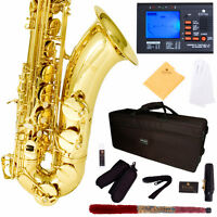 Mendini by Cecilio MTS-L 92D Gold Lacquer B Flat Tenor Saxophone with Tuner, Case, Mouthpiece, 10 Re... Musical Instruments on Sale